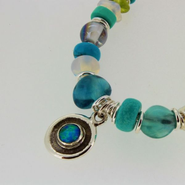 Blue opal necklace silver chain & setting with turquoise & peridot